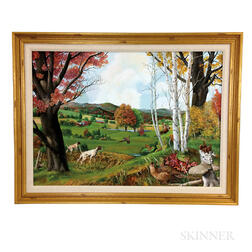 Framed Oil on Board of a Pheasant Hunting Scene