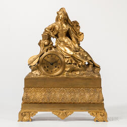Gilt-bronze Figural Mantel Clock