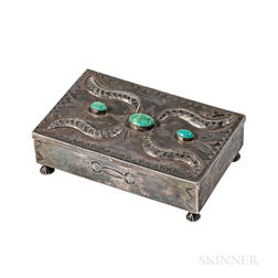 Navajo Silver Box with Turquoise Settings