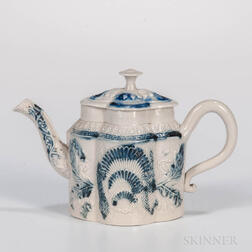 Staffordshire Salt-glazed Stoneware Scratch Blue Teapot and Cover