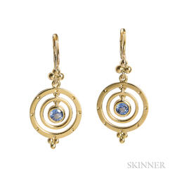 "18kt Gold and Sapphire ""Piccolo Tolomeo"" Earrings, Temple St. Clair"