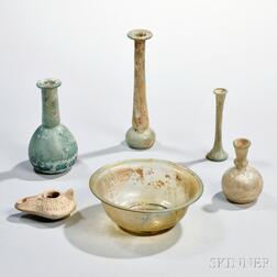 Five Pieces of Roman-style Glass and a Lamp