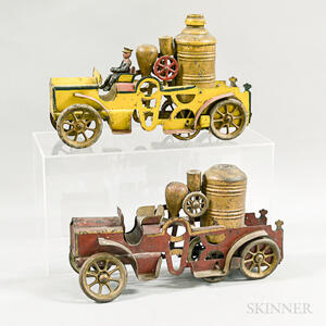 Two Polychrome Tin Fire Engines