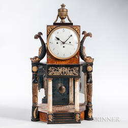 Continental Biedermeier Ebonized Mantel Clock