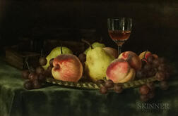 American School, 19th Century      Still Life with Wineglass and Fruit