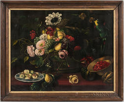 Continental School, 19th Century      Still Life with Fruit, Flowers, and Parrot