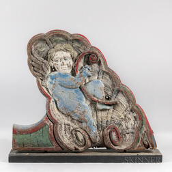 Carved and Polychrome Painted Cupid Circus Bench Side