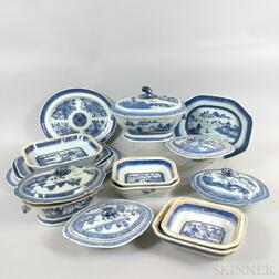 Sixteen Canton Porcelain Serving Pieces