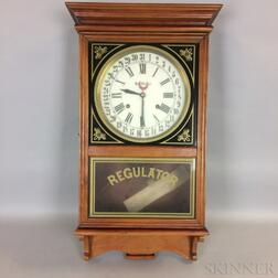 "Seth Thomas Cherry and Reverse-painted ""Regulator"" Wall Clock"