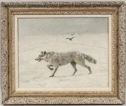 Theodore Victor Carl Valenkamph (Swedish/American, 1868-1924)      Wolf in Snow