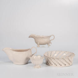 Four Staffordshire White Salt-glazed Stoneware Items