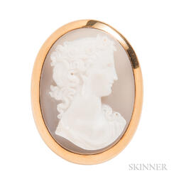 Antique Gold and Agate Cameo