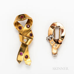 22kt Gold, Ruby, and Diamond Knot Brooch and a 14kt Gold and Diamond Knot Brooch