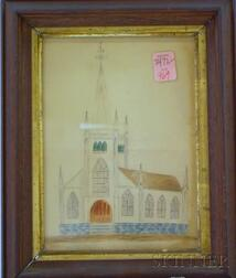 Framed 19th Century Pencil and Watercolor on Paper Depicting the Unitarian Church,   Haverhill, Mass.