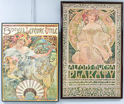 Four Framed Reproduction Art Nouveau Posters