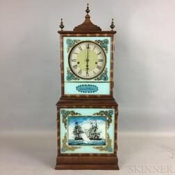 Federal-style Mahogany and Reverse-painted Aaron Willard Reproduction Shelf Clock