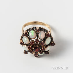14kt Gold, Opal, and Garnet Cocktail Ring