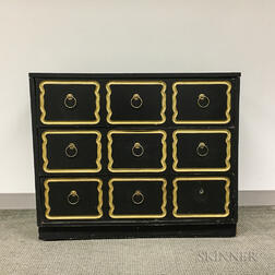 Hollywood Regency-style Black-painted and Parcel-gilt Chest of Drawers