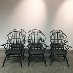 Set of Six James Brown Black-painted Sack-back Windsor Chairs