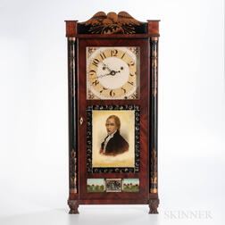 "Silas Hoadley ""Time is Money"" Stenciled Shelf Clock"