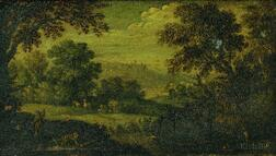 Flemish School, 17th Century      Landscape with Figures, Animals, and Birds