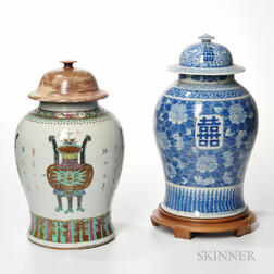 Two Large Covered Jars