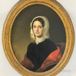 American School, 19th Century      Portrait of Mrs. John Hone in Black Dress with Red Shawl.