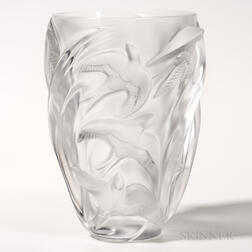 Lalique Swallows Figural Art Glass Vase
