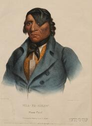 Two Colored Lithographs of American Indians