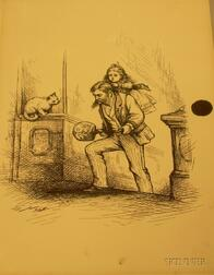 After Thomas Nast (American, 1840-1902)   Portrait of a Man with a Young Girl