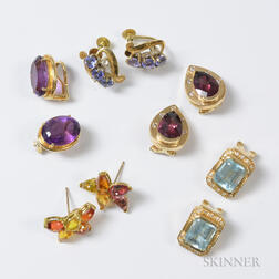 Five Pairs of 14kt Gold Gem-set Earrings
