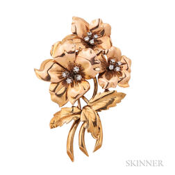 18kt Bicolor Gold and Diamond Flower Clip/Brooch