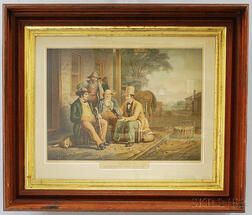 Framed Reproduiction M. Knoedler Lithograph After George Caleb Bingham's Canvassing for a Vote