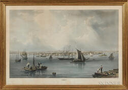 """Hand-colored Engraving """"BOSTON"""" by C. Mottram"""