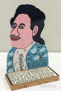 Howard Finster (American, 1916-2001)      Enstaine   [sic  ] from a Postage Stamp