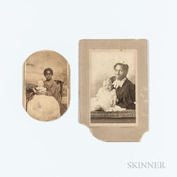 Two Cabinet Cards Depicting White Infants with African American Female Caretakers