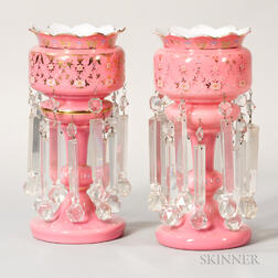 Pair of Gilded Pink Glass Girandoles