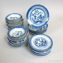 Thirty-six Canton Porcelain Dishes
