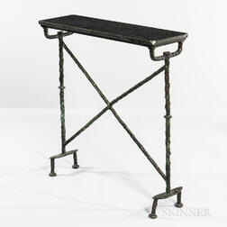 Patinated Bronze Console Table with Marble Top Attributed to Diego Giacometti (Swiss, 1902-1985)