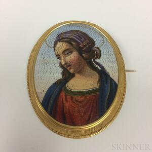 18kt Gold and Micromosaic Madonna Brooch
