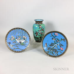 Two Chinese Cloisonne Plates and a Vase