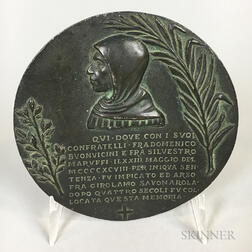 Bronze Medal Commemorating the 400th Anniversary of the Death of Girolamo Savonarola