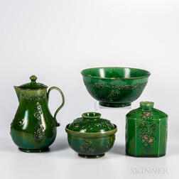 Staffordshire Green-glazed Earthenware Partial Tea Set