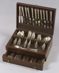 """Reed and Barton Sterling """"Georgian Rose"""" Flatware Service"""