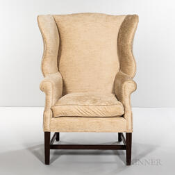 Mahogany Upholstered Wing Chair