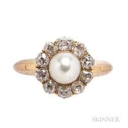 Antique 18kt Gold, Pearl, and Diamond Ring