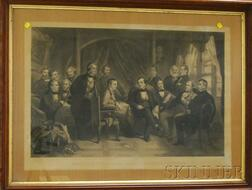 Lot of Three Framed Engravings:    After Tompkins Harrison Matteson      (American, 1813-1884), The Pilgrims Signing the Compact