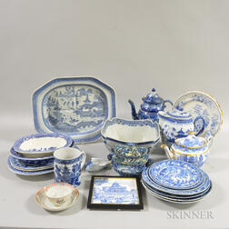 Large Group of Mostly Blue and White Transfer-decorated English Ceramics and Canton Porcelain