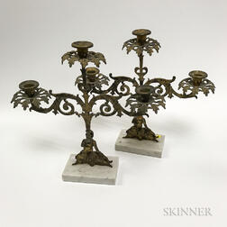 Pair of Cast Brass and Cut Glass Figural Girandoles