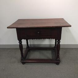 Jacobean-style Walnut and Pine One-drawer Tavern Table